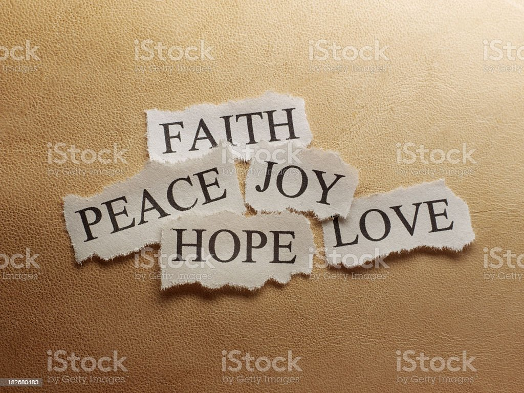 Faith,Peace,Hope,Love,Joy stock photo