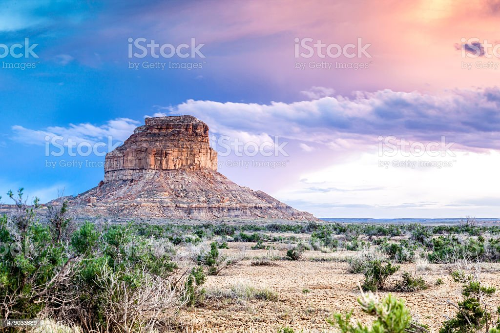 Fajada Butte in Chaco Culture National Historical Park, New Mexi stock photo