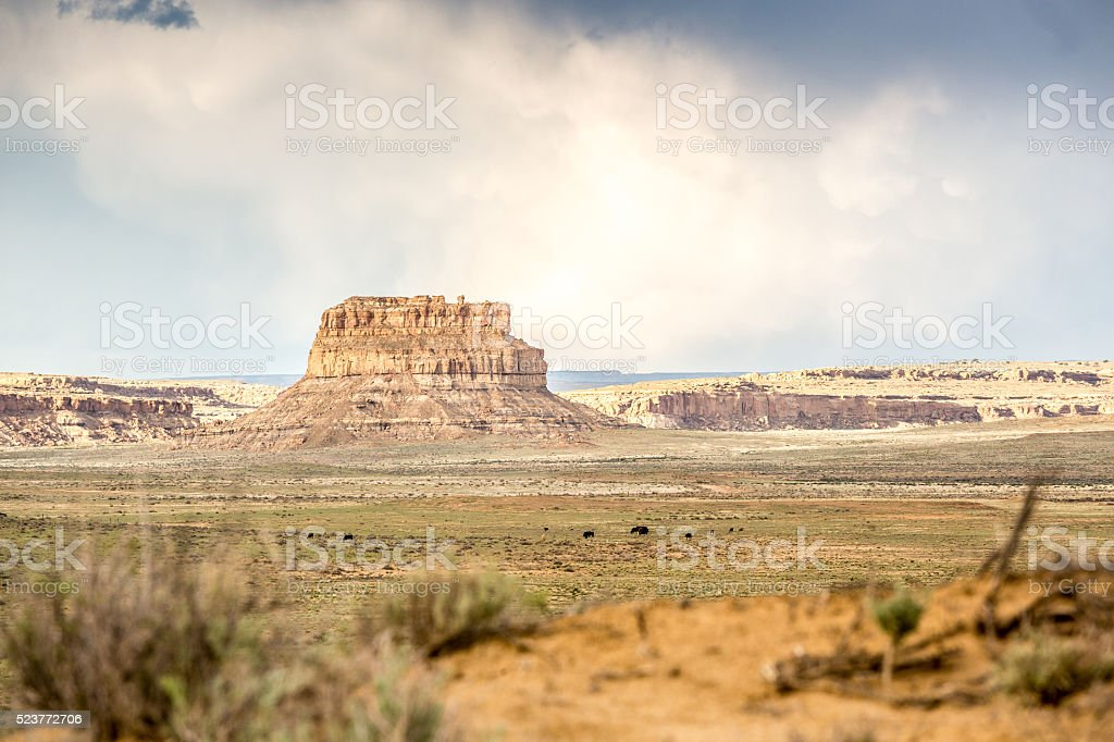 Fajada Butte in Chaco Culture National Historical Park stock photo