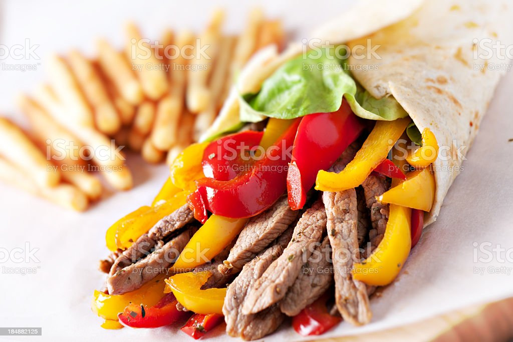 Fajitas with fries royalty-free stock photo