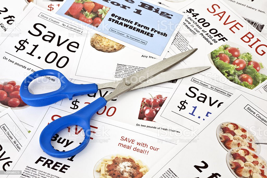 Fake coupons with Scissors stock photo