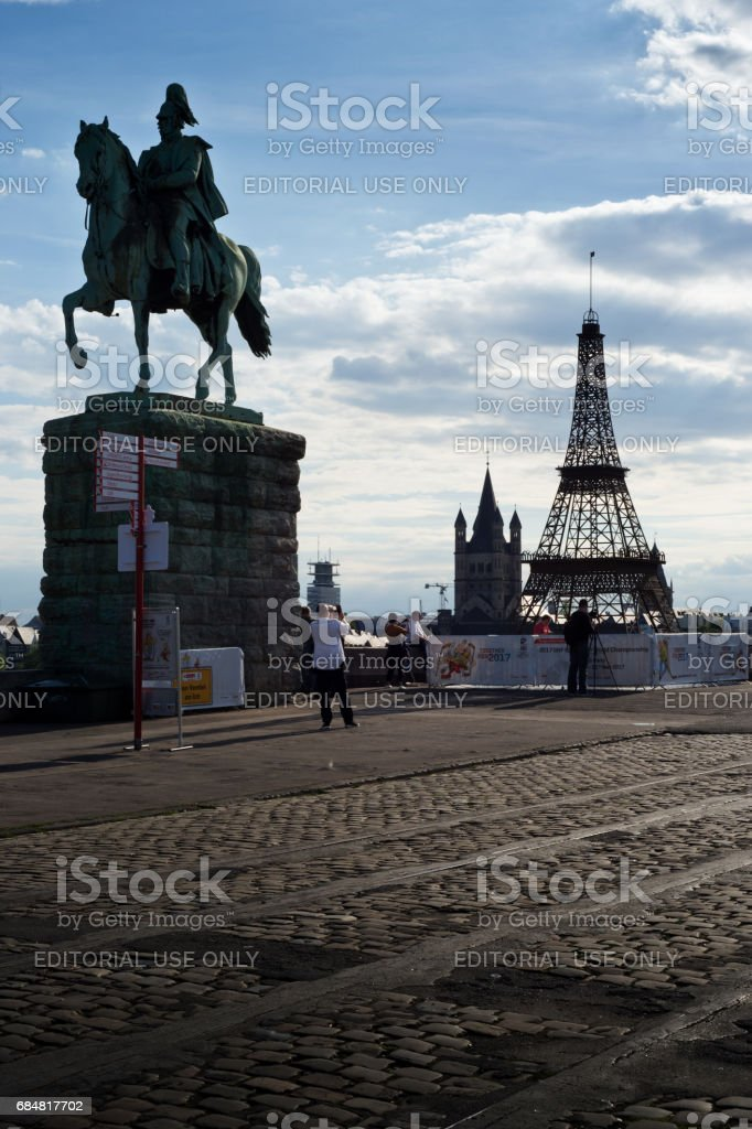 Fake Eiffel Tower promoting Ice Hockey World Championship 2017 in Cologne and Paris stock photo
