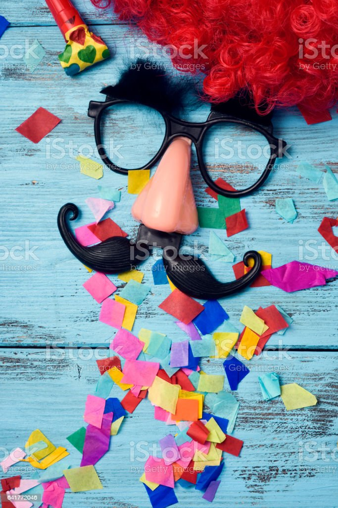 fake glasses, nose and mustache stock photo