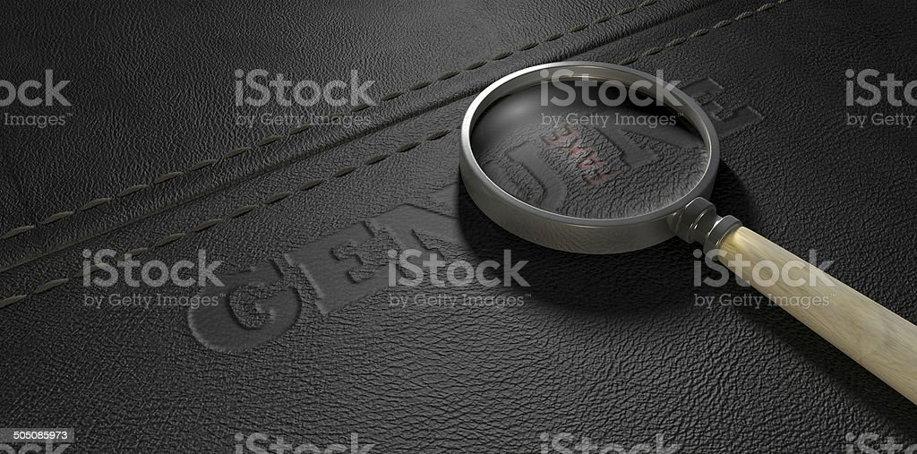 Fake Leather With Magnifying Glass stock photo