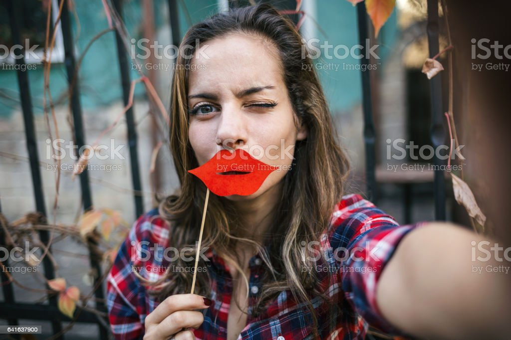 Fake lips selfie stock photo