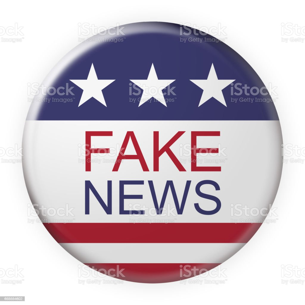 Fake News Button With US Flag, 3d illustration on white stock photo