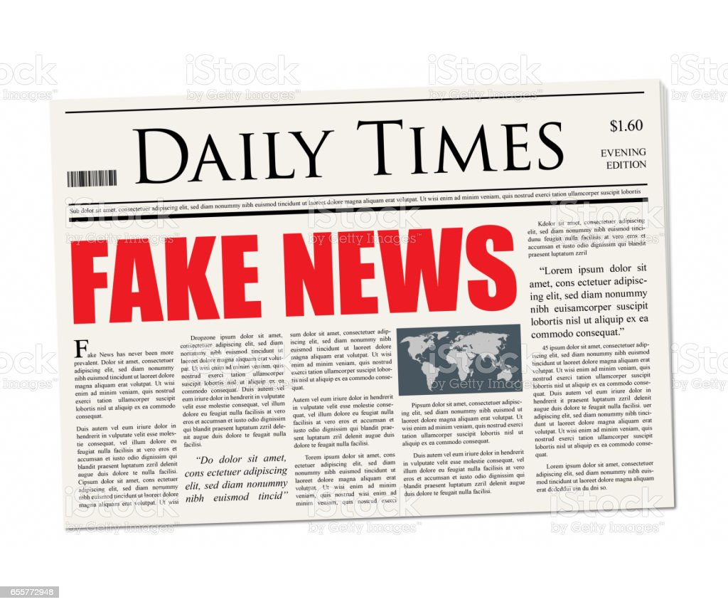 Fake News Headline - Newspaper mockup stock photo