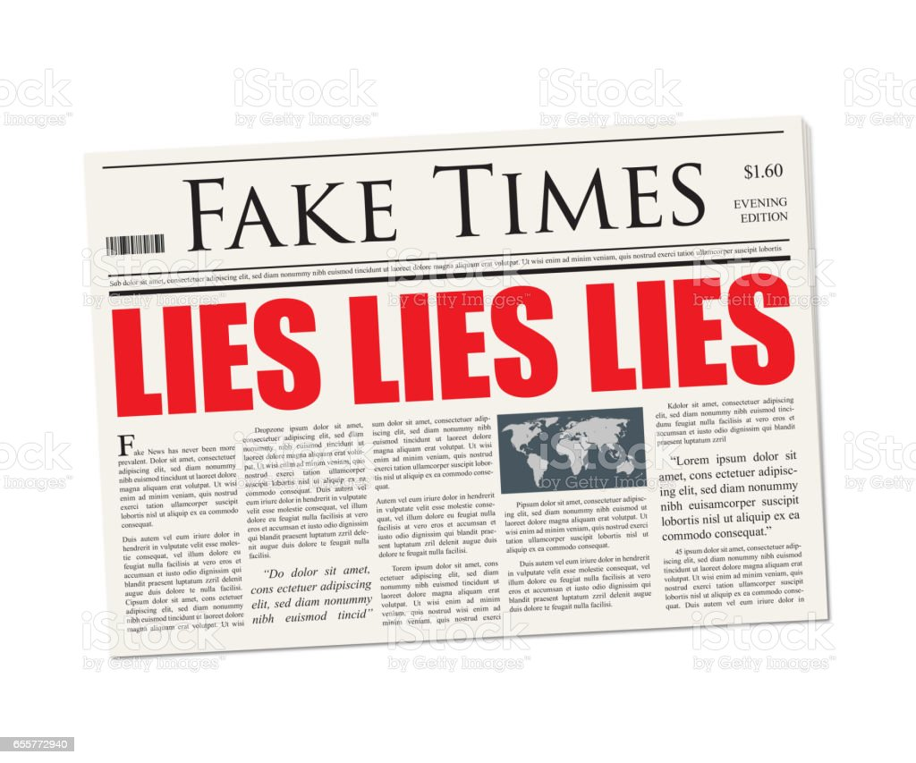 Fake News - Lies Lies Lies Headline on newspaper mockup stock photo
