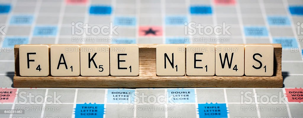 Fake News - Scrabble stock photo