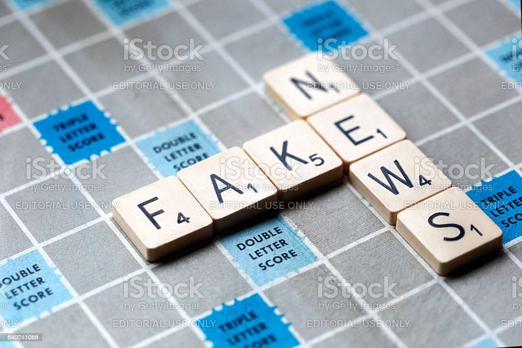 Fake News - Scrabble stock photo