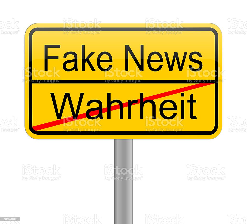 Fake News sign - in german stock photo