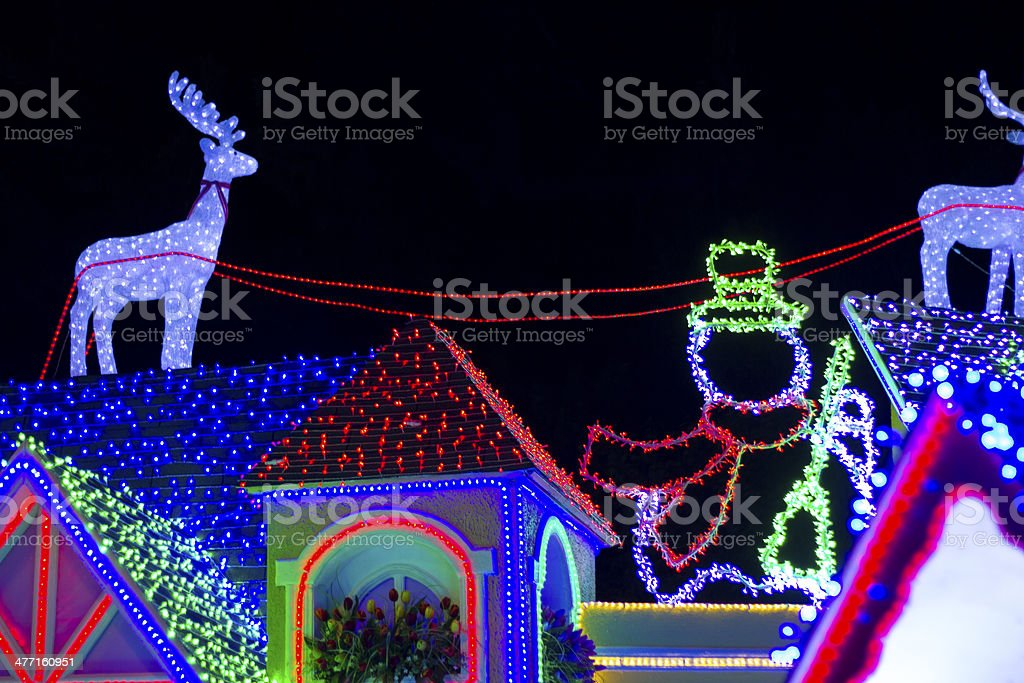 Fake roof house with Christmas lights royalty-free stock photo