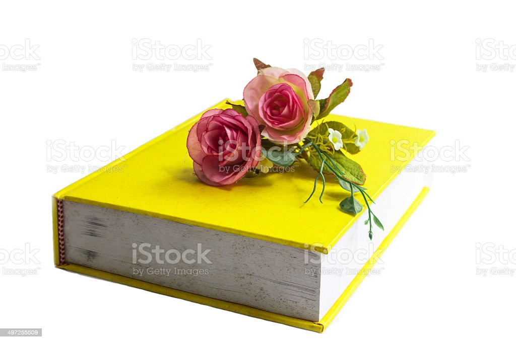 fake rose on the book royalty-free stock photo