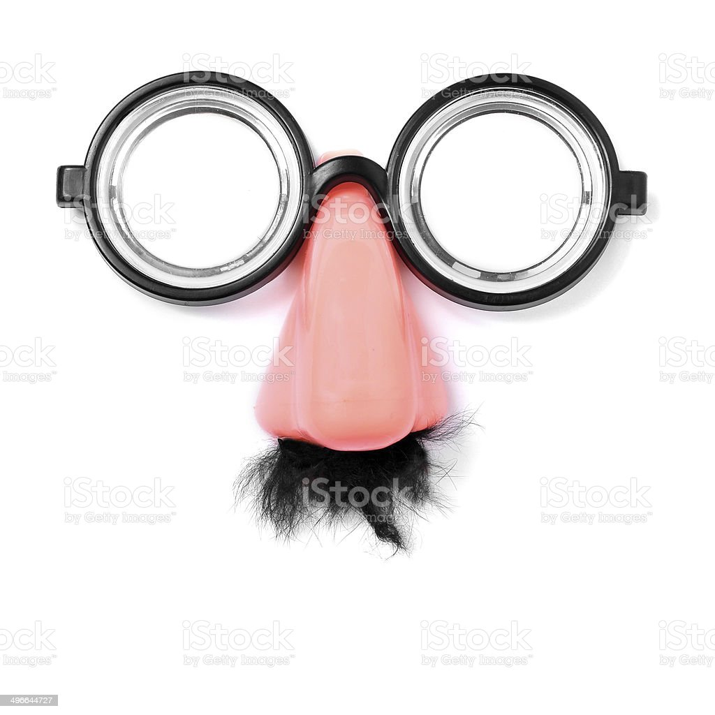 fake short-sighted glasses, nose and moustache stock photo