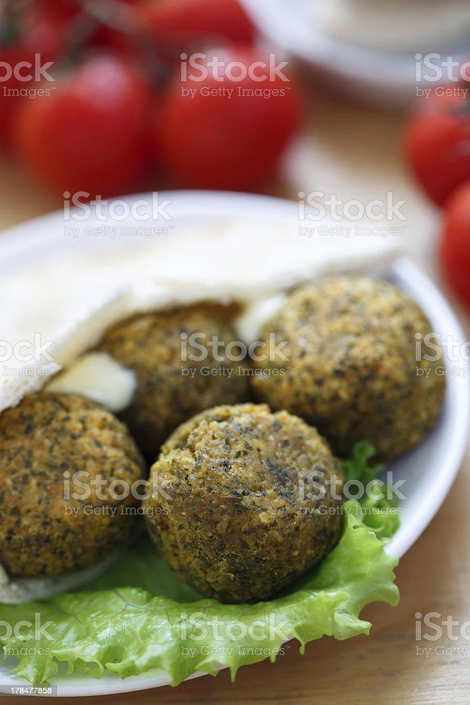 Falafel balls with pita bread royalty-free stock photo