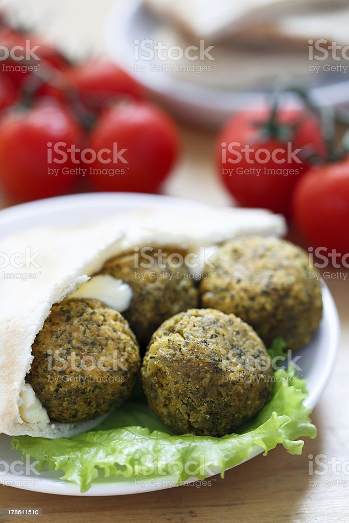 Falafel balls with pita bread royalty-free stock photo