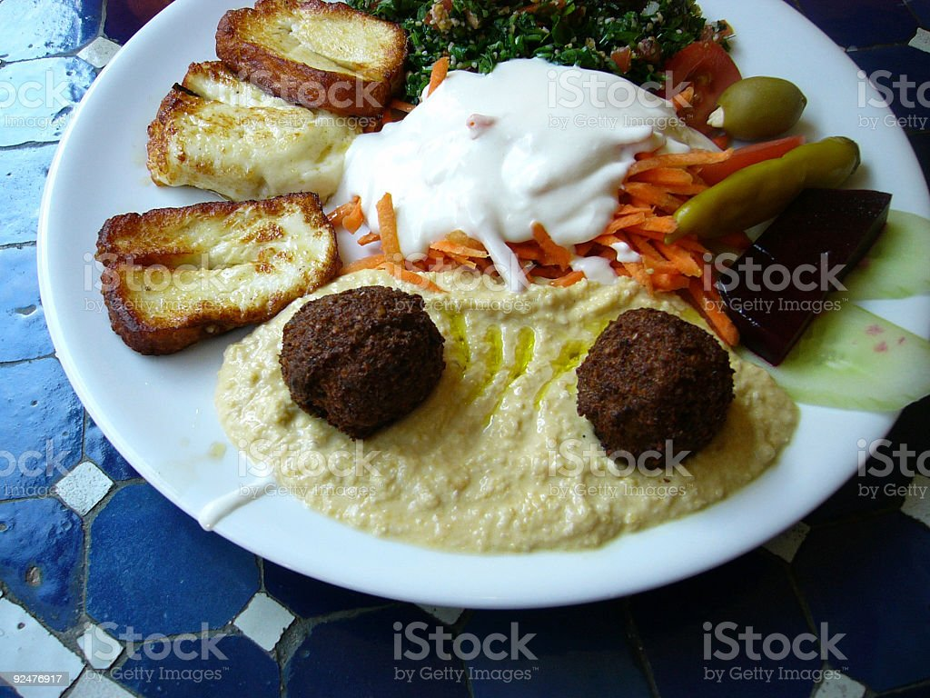 Falafel,  hommos, fried cheese royalty-free stock photo