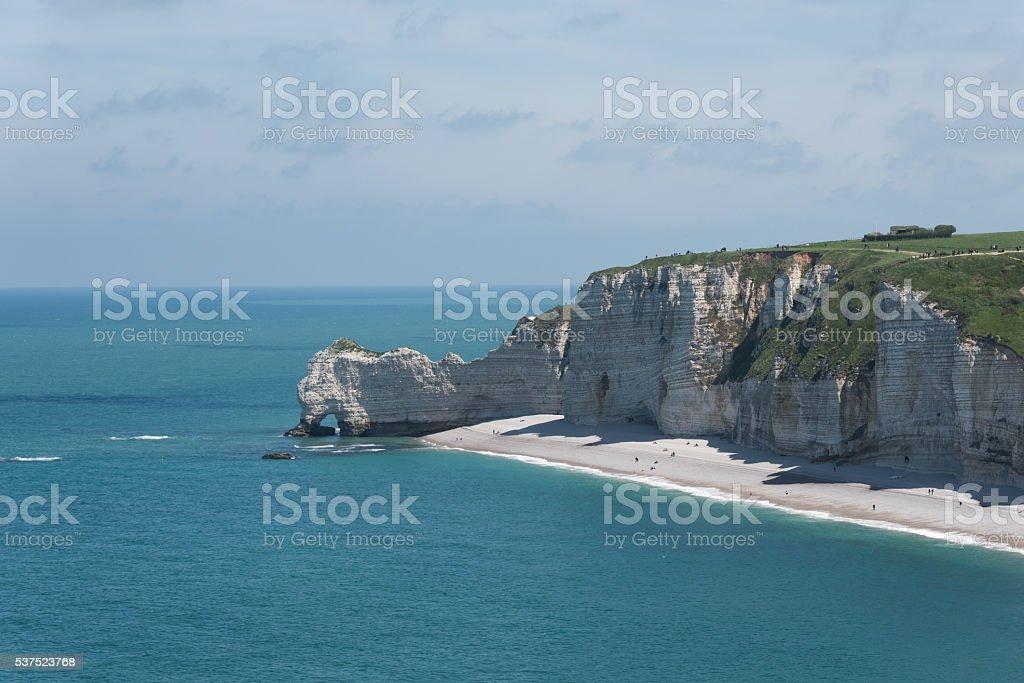 Falaise d'Amont cliff of Etretat, Normandy, France stock photo