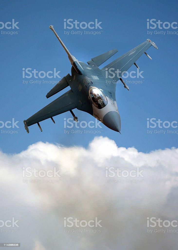 F-16 Falcon over Cloud stock photo