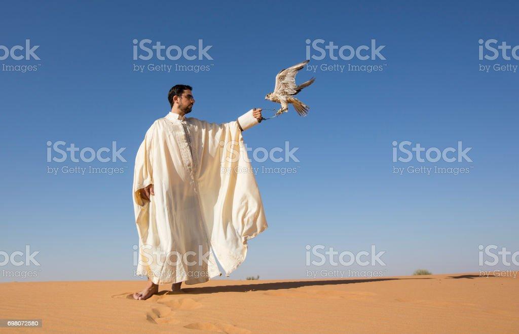 Falconer with a falcon in a desert near Dubai stock photo