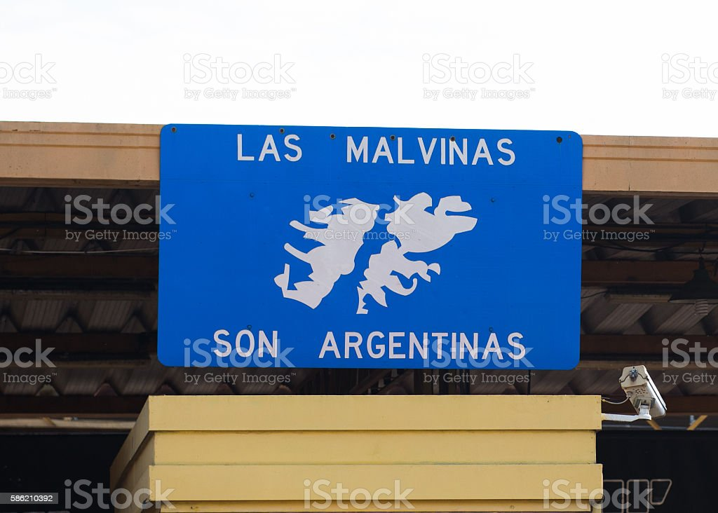 Falkland Islands belongs to Argentina board in Argentina stock photo