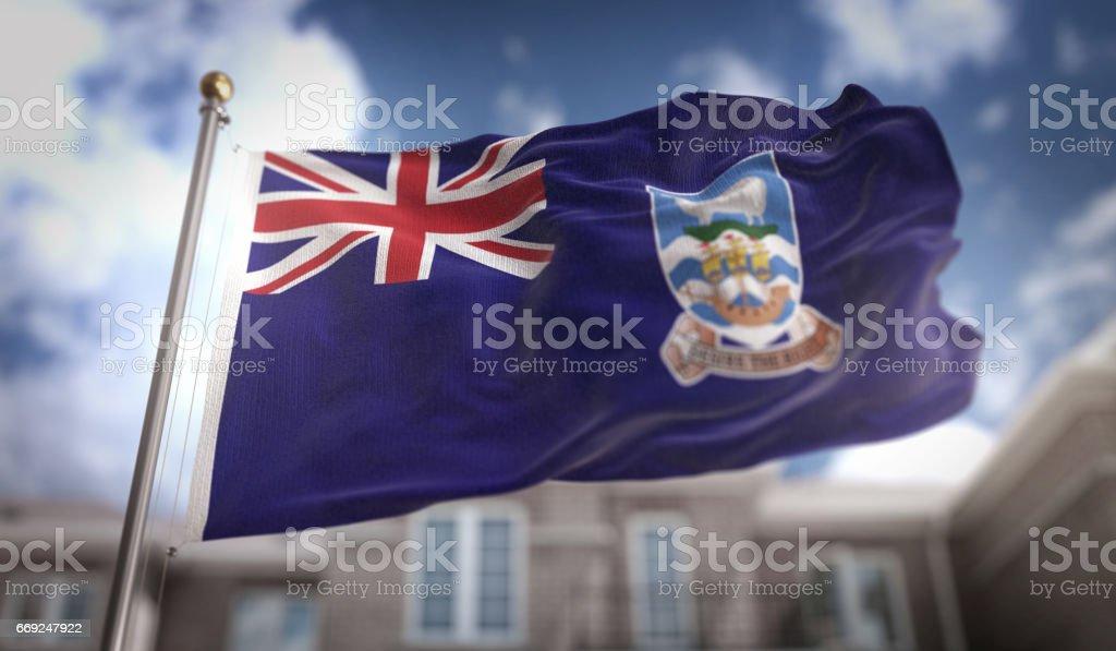 Falkland Islands Flag 3D Rendering on Blue Sky Building Background stock photo