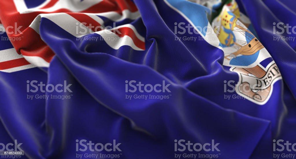 Falkland Islands Flag Ruffled Beautifully Waving Macro Close-Up Shot stock photo