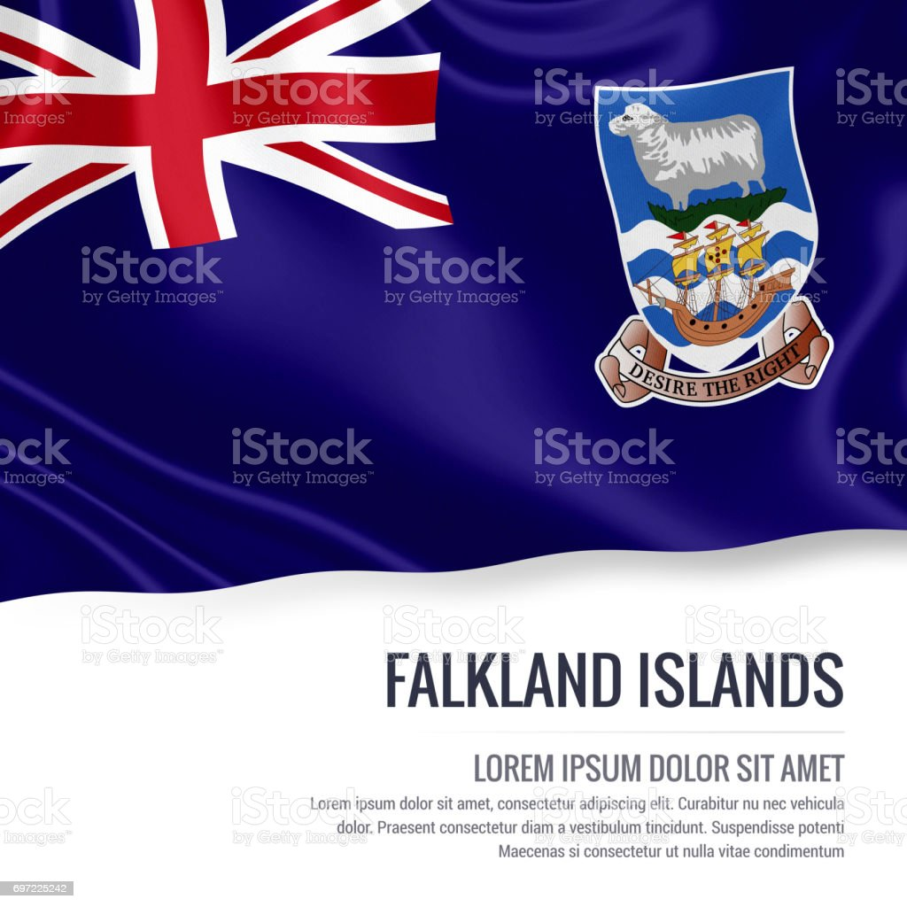 Falkland Islands flag. Silky flag of Falkland Islands waving on an isolated white background with the white text area for your advert message. 3D rendering. stock photo