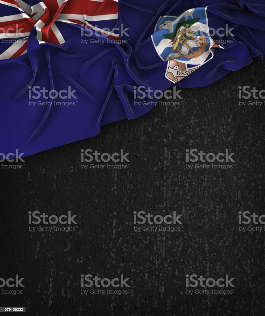Falkland Islands Flag Vintage on a Grunge Black Chalkboard With Space For Text stock photo