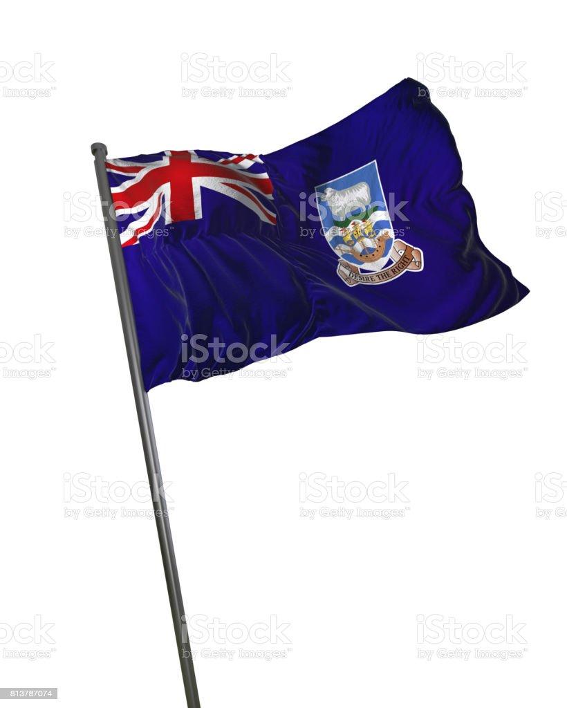 Falkland Islands Flag Waving Isolated on White Background Portrait stock photo