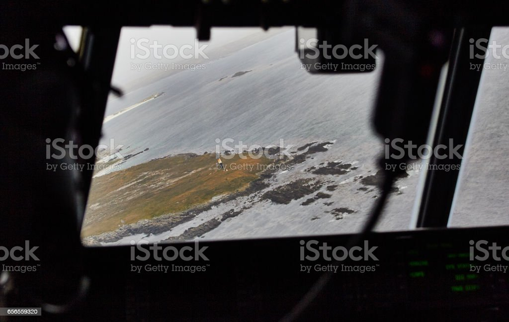 Falkland Islands landscape from the air stock photo