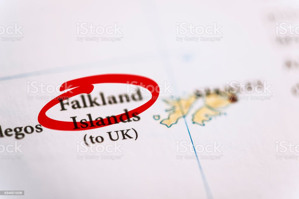 Falkland Islands Marked on Map stock photo