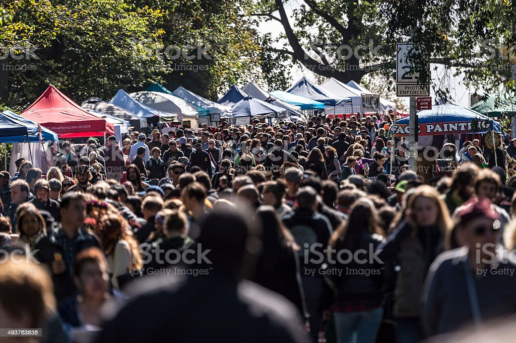 Fall Afternoon Crowd stock photo