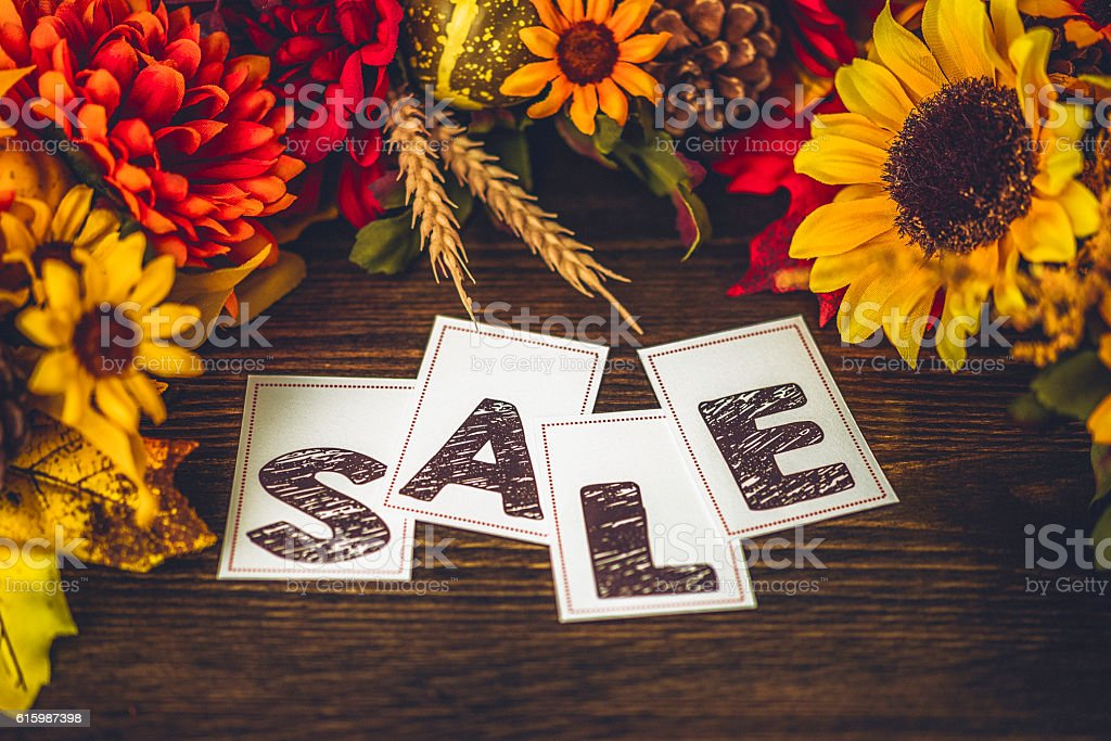 Fall arrangement with SALE message stock photo