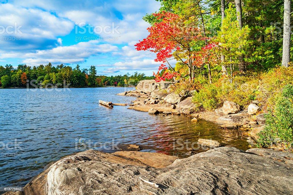 Fall at Hardy Lake Muskoka Ontario Canada stock photo