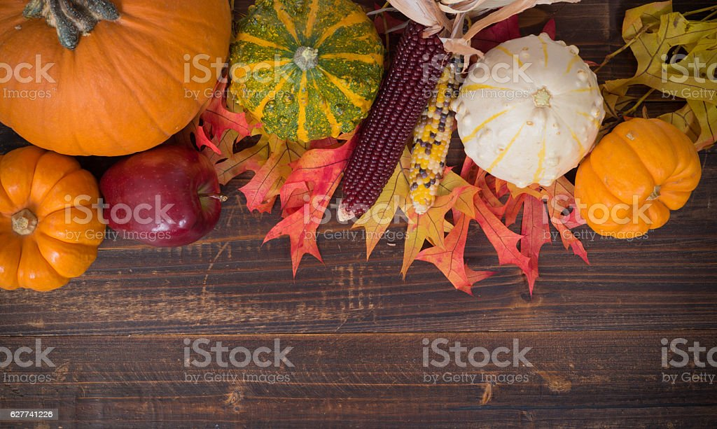 Fall / Autumn deocorations. Thanksgiving theme stock photo