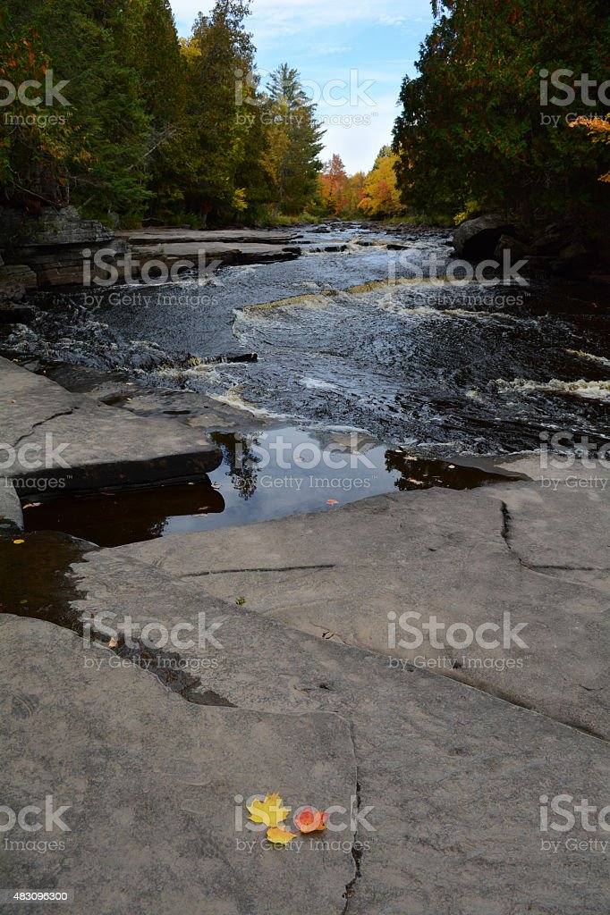 Fall Color at Canyon Falls in Michigan royalty-free stock photo