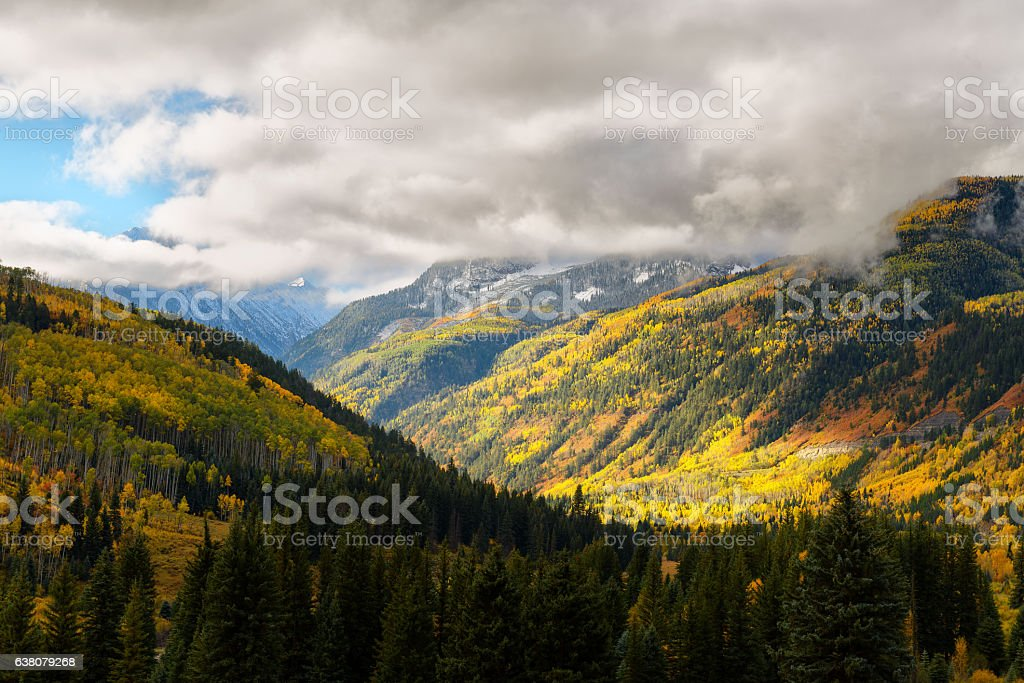 Fall color in Crystal Mill City, colorado stock photo