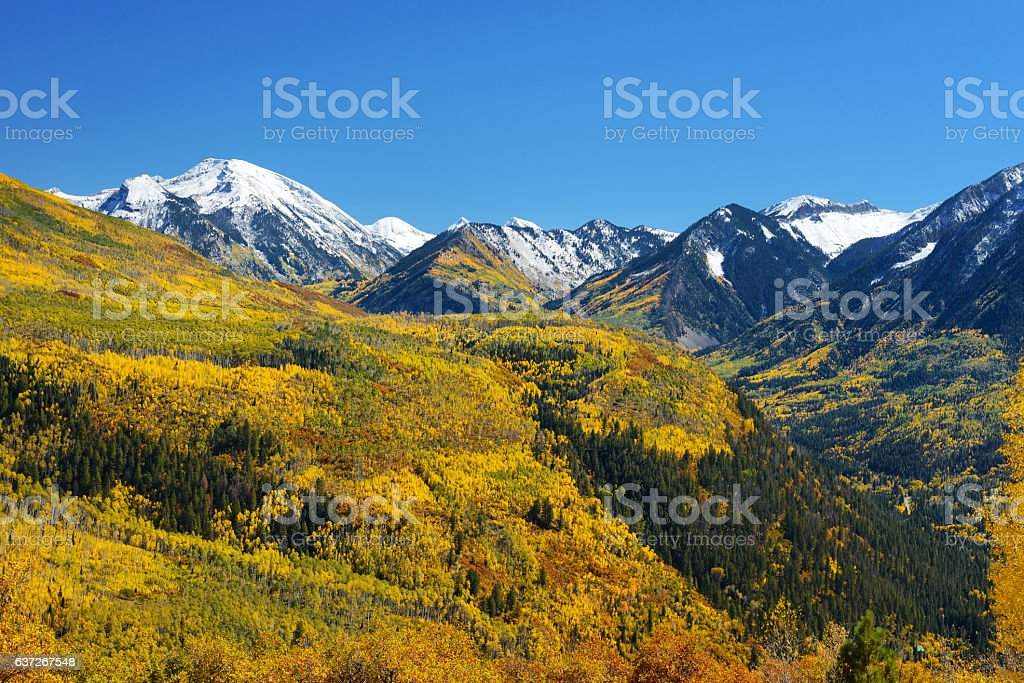 Fall color McClure Pass, Marble, Colorado stock photo