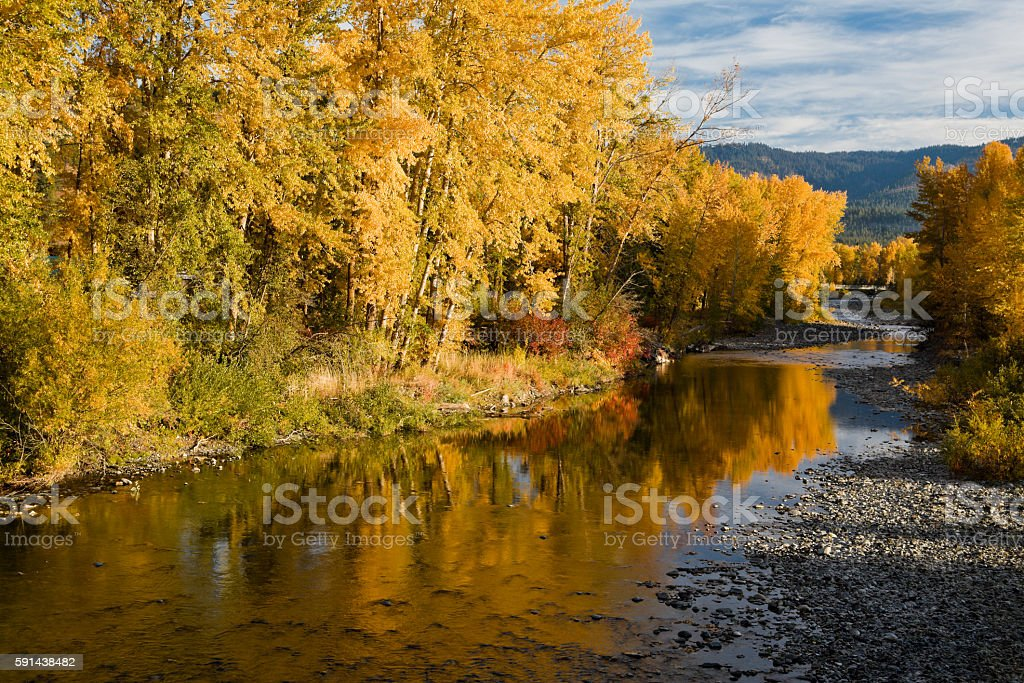 Fall color reflections stock photo