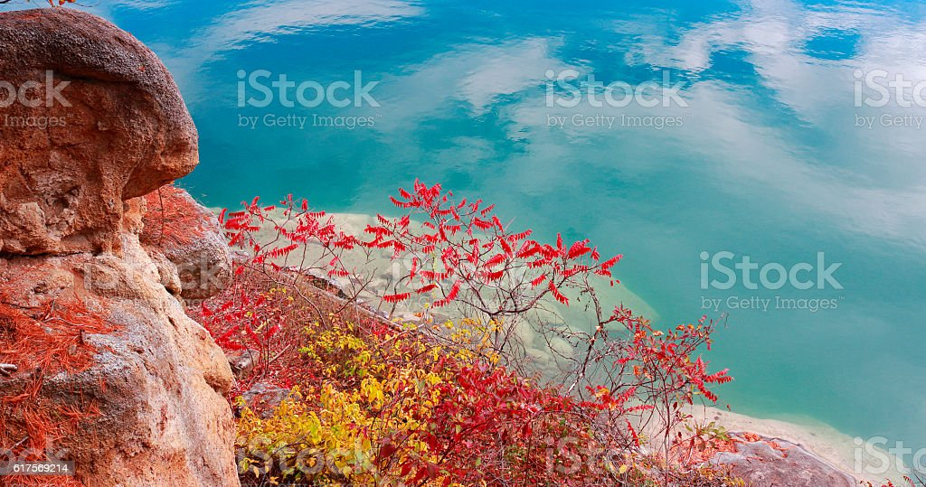 Fall Color, Rock and Lake stock photo