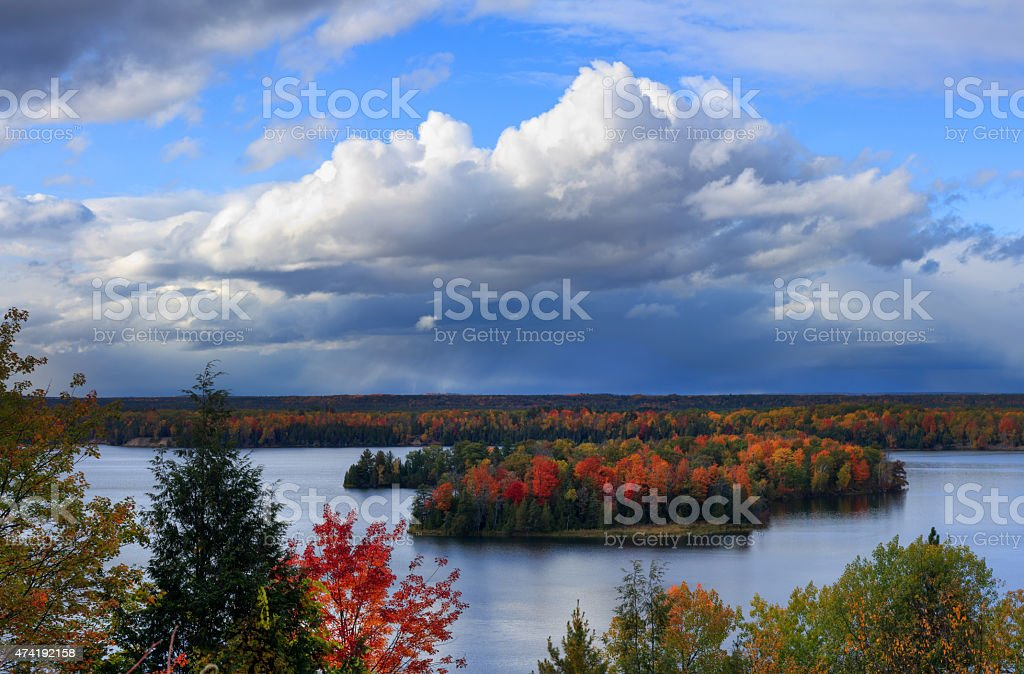 Fall colors along the Au Sable River stock photo