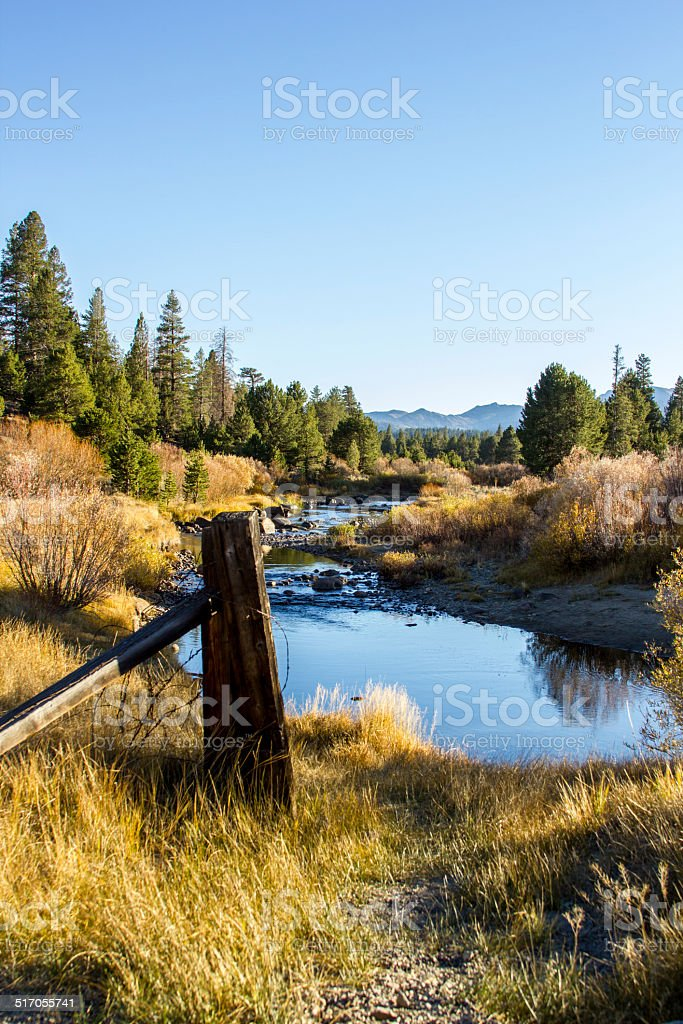 Fall colors and the Carson River stock photo