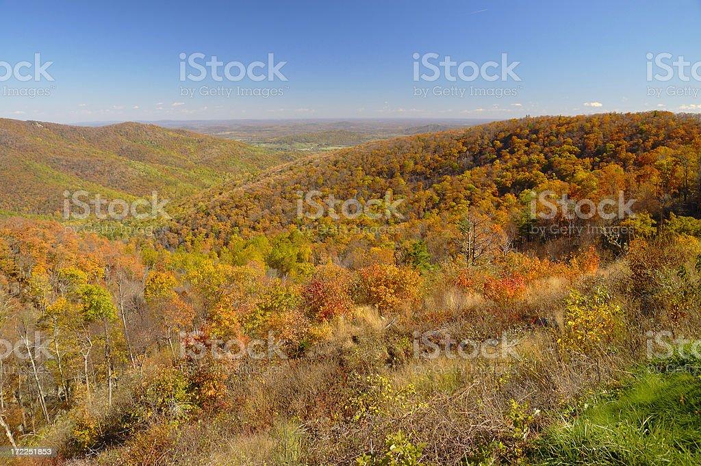 Fall colors at Shenandoah National Park stock photo