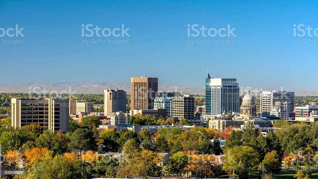 Fall colors before the city of Boise Idaho stock photo