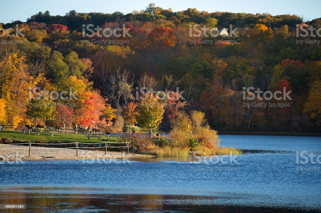 Fall Colors by the Lake stock photo