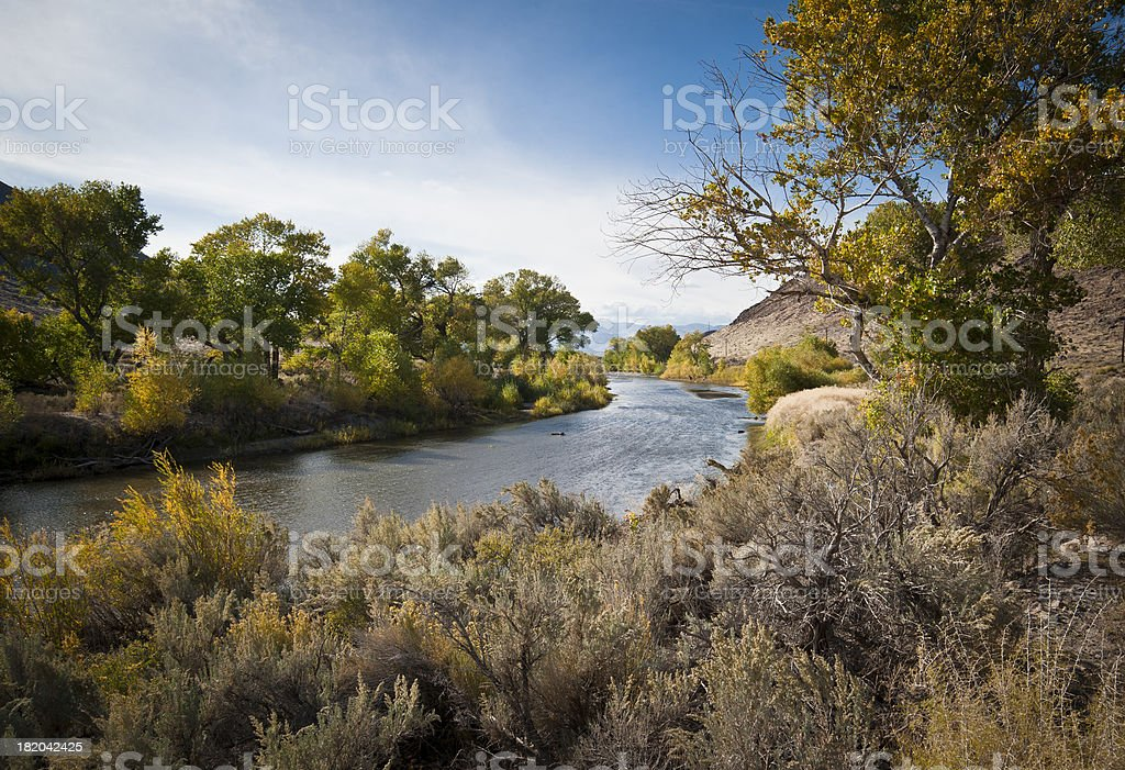 Fall colors, Carson River, Nevada stock photo