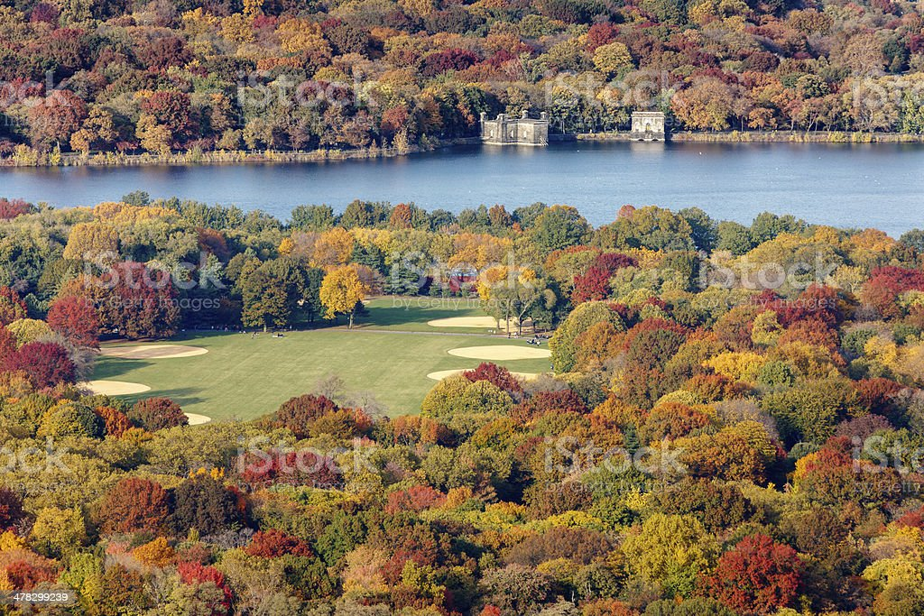 Fall colors, Great Lawn and Reservoir, Central Park, New York royalty-free stock photo