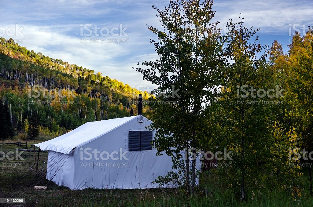 Fall Colors Hunting Tent Colorado stock photo