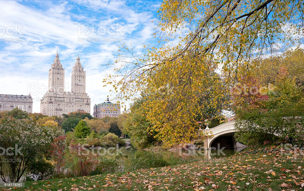 Fall colors in Central Park New York City stock photo